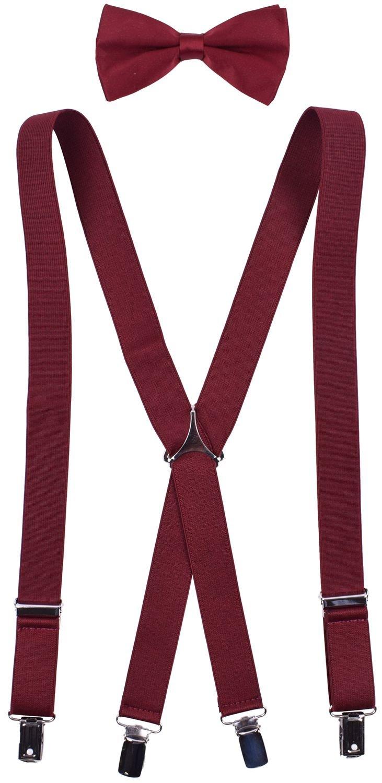 Boy Bow Ties Adjustable Little Boys Suspenders Wine Boys Bow Tie Suspenders