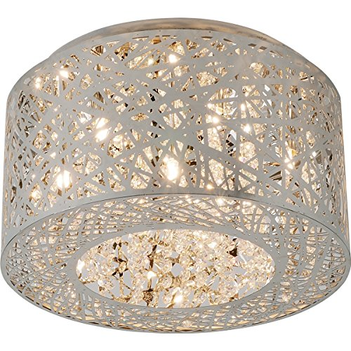 ET2 E21300-10PC, Inca Round Crystal Flush Mount Lighting, 7 Light, 280 Total Watts Xenon, Chrome ()