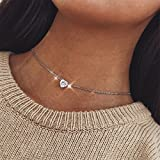 VWH Peach Heart Simple Pendant Necklace Simple Love Choker Necklaces for Woman Girls (sliver)