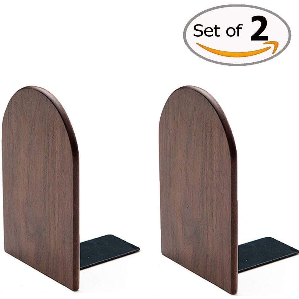 Da Jia Inc 1 Paar Luxus Dick Büro Desktop Holz Buchstützen Einfache Home Office Schule Schreibtisch Holz Buchstützen Bookends (Walnut Round, 13*10*8cm)