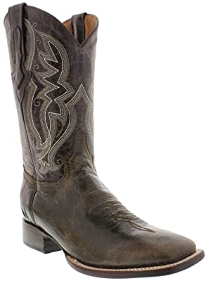 Veretta Boots - Men's Brown Distressed Leather Cowboy Square Toe Boots 8 D