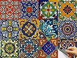 "tile kitchen floor Bleucoin Mexican Talavera Peel and Stick Tile Stickers for Kitchen backsplash Bathroom Floor Tile Waterproof Oil Proof Removable Decals, DIY Murals (12, 4"" x 4"" inch)"