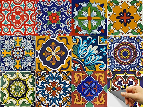 Bleucoin Mexican Talavera Peel and Stick Tile Stickers for Kitchen backsplash Bathroom Floor Tile Waterproof Oil Proof Removable Decals, DIY Murals (12, 4