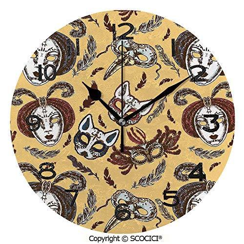 SCOCICI Round Wall Clock Venetian Style Paper Mache Face Mask with Feathers Dance Event Theme 10 inch Morden Wall Clocks Silent Round Decorative Clock