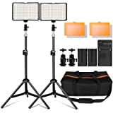 "Photography 160 LED Studio Lighting Kit for Canon Nikon Sony, 160 Dimmable Ultra High Power Panel Digital Camera / Camcorder Video Light with 29"" Tall Stand and Charger,Mini Ball head, Carry Case"
