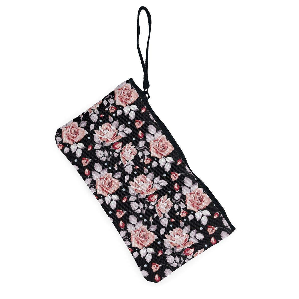 Coin Pouch Pink Flower Pattern Canvas Coin Purse Cellphone Card Bag With Handle And Zipper