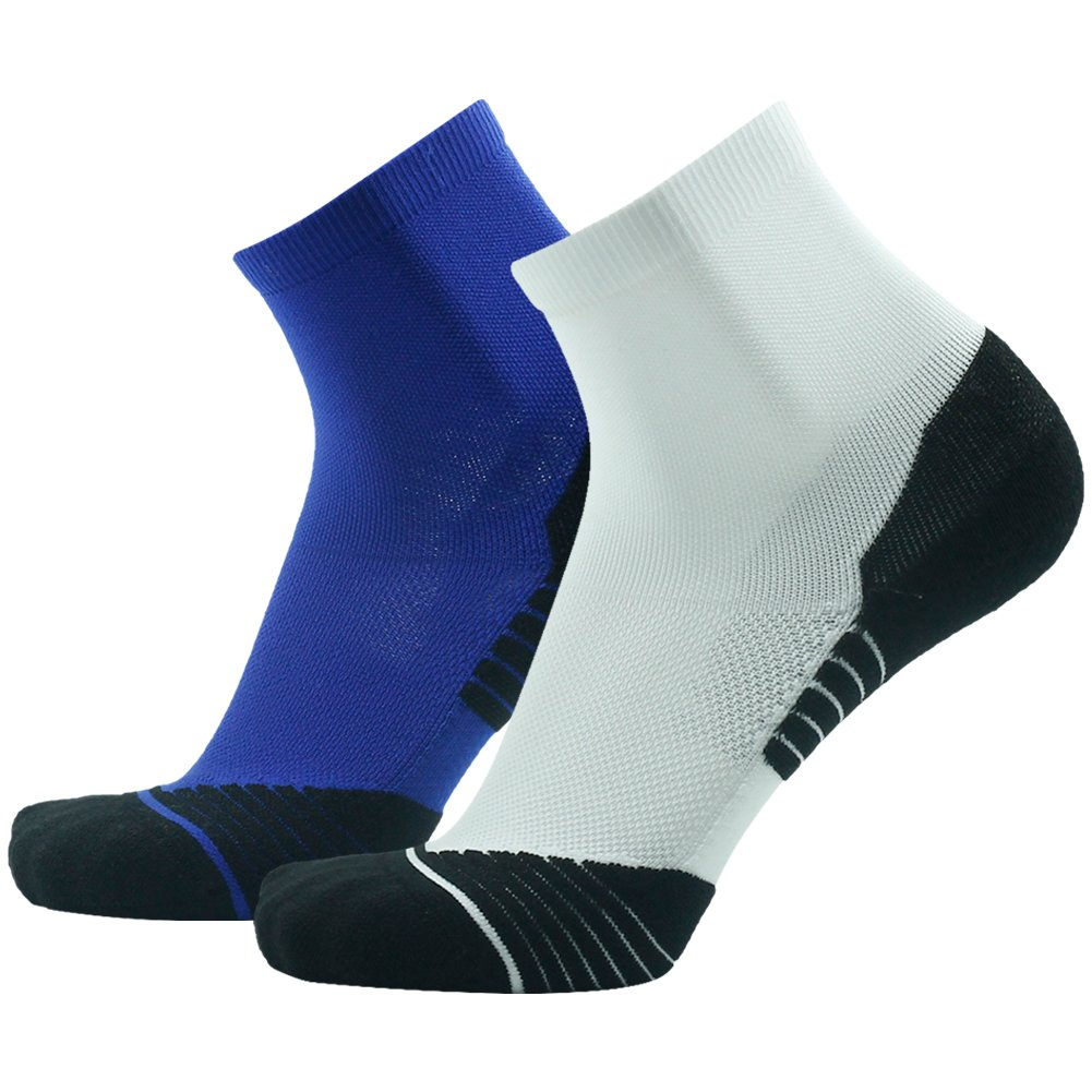 Men's Running Socks HUSO Arch Support Athletic Ankle Walking Socks 2 Pairs (White&Royal Bule, L/XL)
