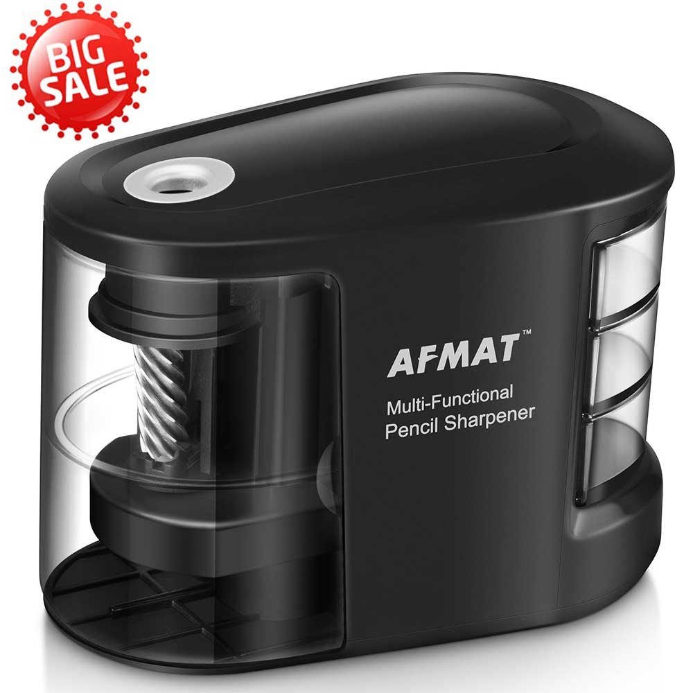 Electric Pencil Sharpener - Battery Operated USB Sharpener for Home, Office, School, Artist, Students and more!–Ultra Portable, ideal for No. 2 And Colored Pencils (Drawing, Coloring), AFMAT