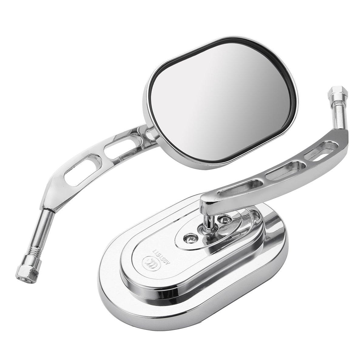 Kungfu Mall 10mm Universal Chrome Motorcycle Mirrors Rear View Side Mirror For Harley/Suzuki/Honda