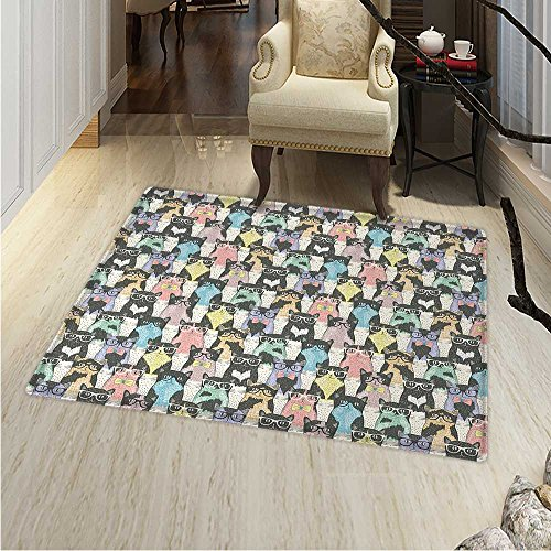 Cat Floor Mat Pattern Pattern Hipster Playful Feline Characters Glasses Bowties Vintage Style Living Dinning Room & Bedroom Rugs 5'x6' Multicolor
