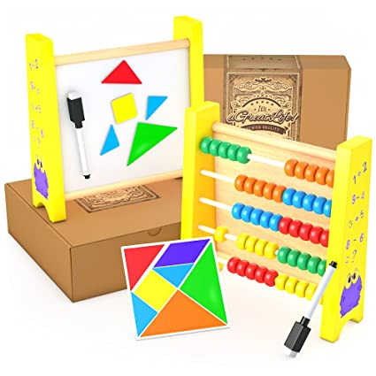 amazon com wooden abacus math tool and calculator with games for