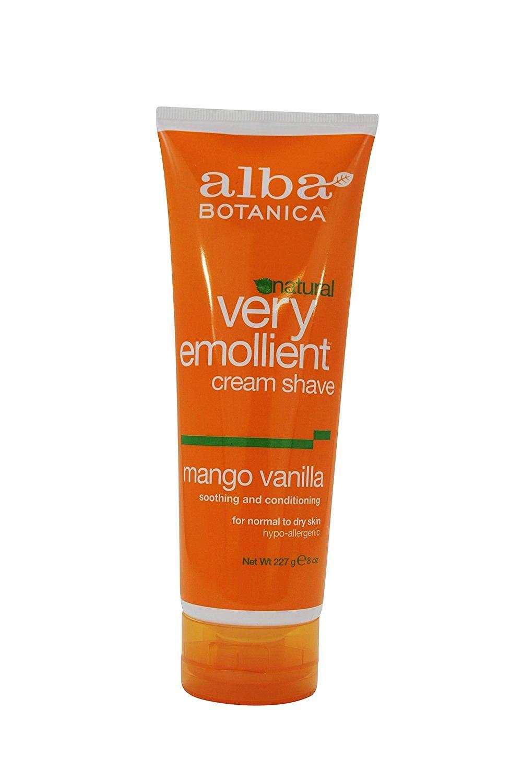 Alba Botanica Natural Very Emollient Cream Shave, Mango Vanilla 8 oz (Pack of 10)