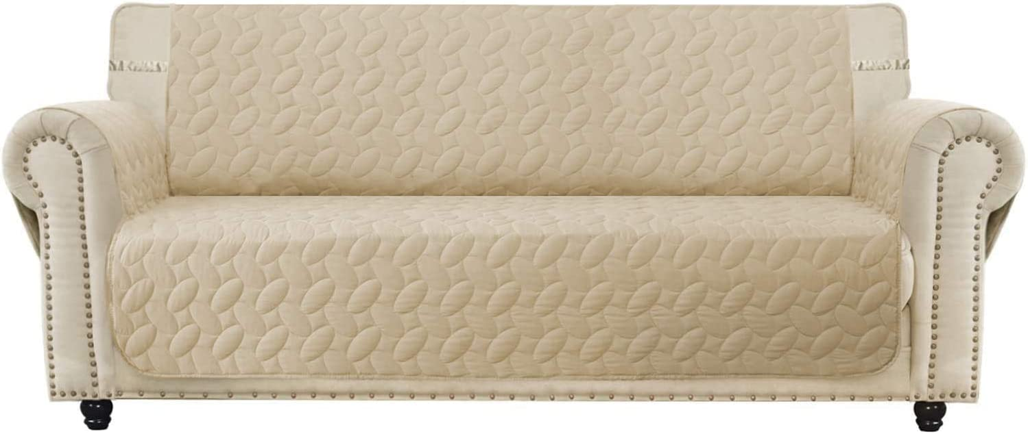SUNNYTEX Waterproof Oversized Sofa Cover, Large Couch Slipcover Sofa Covers for 3 Cushion Couch Non-Slip Slipcover Furniture Protector for Pets Children&Dog(Sofa(Oversized),Beige)