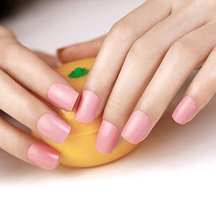 ArtPlus Uñas Postizas Falsas Artificial 24pcs Nude Pink False Nails with Glue Full Cover Medium Length