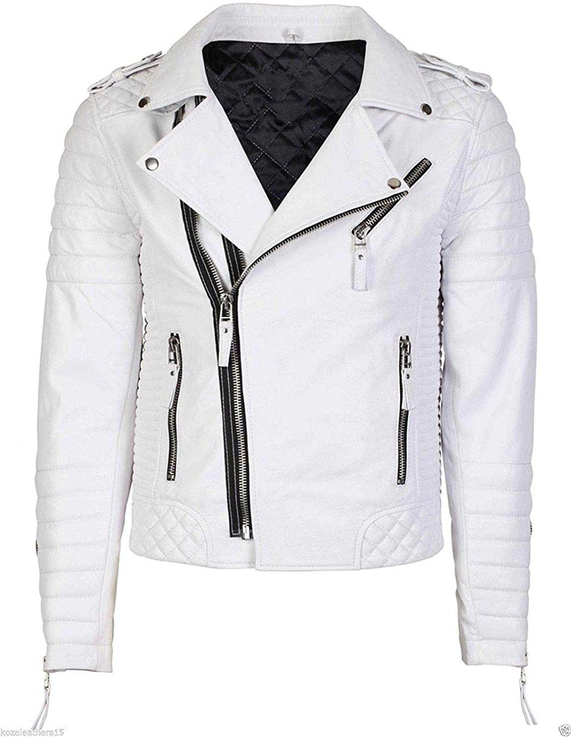 Women/'s Quilted Brando Slim Fit Asymmetrical Cropped White Sheepskin Leather Jacket