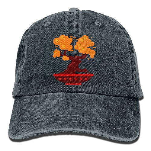 Arsmt Cartoon Bonsai Tree Denim Hat Adjustable Womens Low Baseball Cap