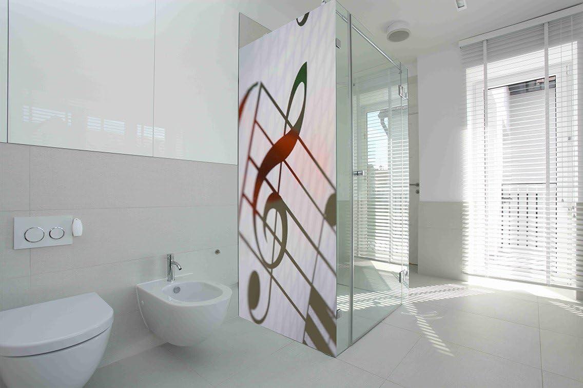 Vinilo para Mamparas baños Clave de Sol y Rosa |Varias Medidas 185x70cm | Adhesivo Resistente y de Facil Aplicación | Pegatina Adhesiva Decorativa de Diseño Elegante|: Amazon.es: Hogar