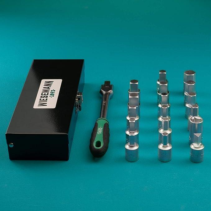 Griff 3//8 I extra umfangreich I WIESEMANN 80232 I f/ür /Ölablass-Schrauben I inkl /Ölablassschrauben Set 17tlg