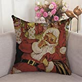 Alicia Haines Santa At Fireplace Throw Pillow Covers,Cases,Decor For Couch,Chair,Sofa,Assorted Designs 12x12