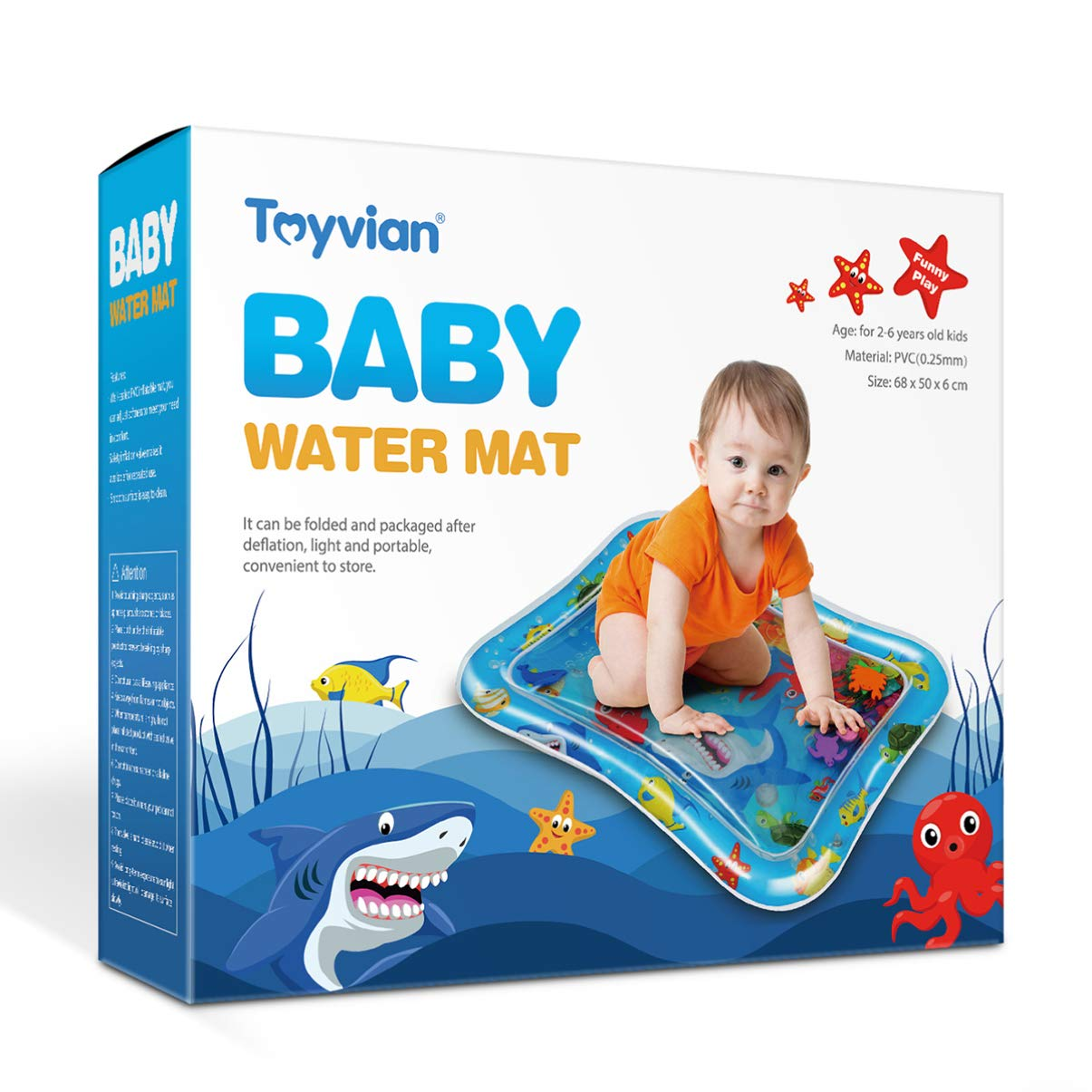 Inflatable Baby Fun Activity Play Center for Boy /& Girl Growth Brain Development Baby Toys for 6-12 Months 27x20 Toyvian Tummy Time Baby Water Mat