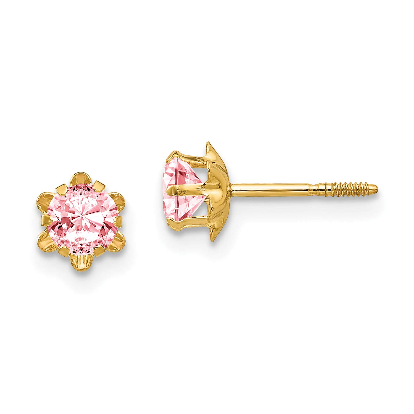 14K Yellow Gold Madi K Childrens 4 MM Synthetic October Birthstone Screw Back Earrings