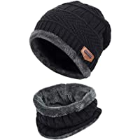 Home-Mart Knitted Beanie hat, 2 Pieces Winter Beanie Hat Scarf Set Warm Knit Hat Thick Fleece Lined Winter Cap Scarves for Men Women Black