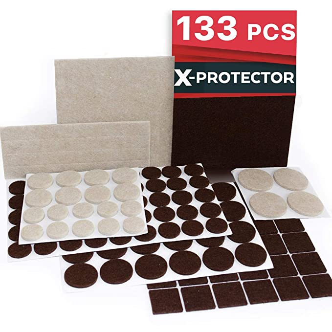 img buy X-PROTECTOR Premium Two Colors Pack Furniture Pads 133 Piece! Felt Pads Furniture Feet Brown 106 + Beige 27 Various Sizes – Best Wood Floor Protectors. Protect Your Hardwood & Laminate Flooring