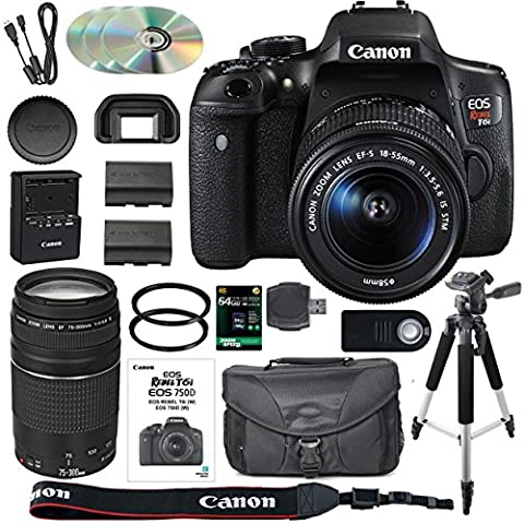 Canon EOS Rebel T6i/750D DSLR Camera Bundle with Canon EF-S 18-55mm IS STM Lens + Canon EF 75-300mm III Lens + 64GB SDXC Memory Card + Accessory Kit - International - Tube Red Filter