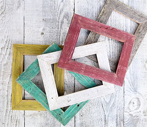 Colored Barnwood Frame Collection - Natural Reclaimed Barn wood Picture Frames - Set of FIVE 5 x 7 Shabby Chic Picture Frames in Red, Yellow, Green, WHite, Natural - Natural White Picture Frame