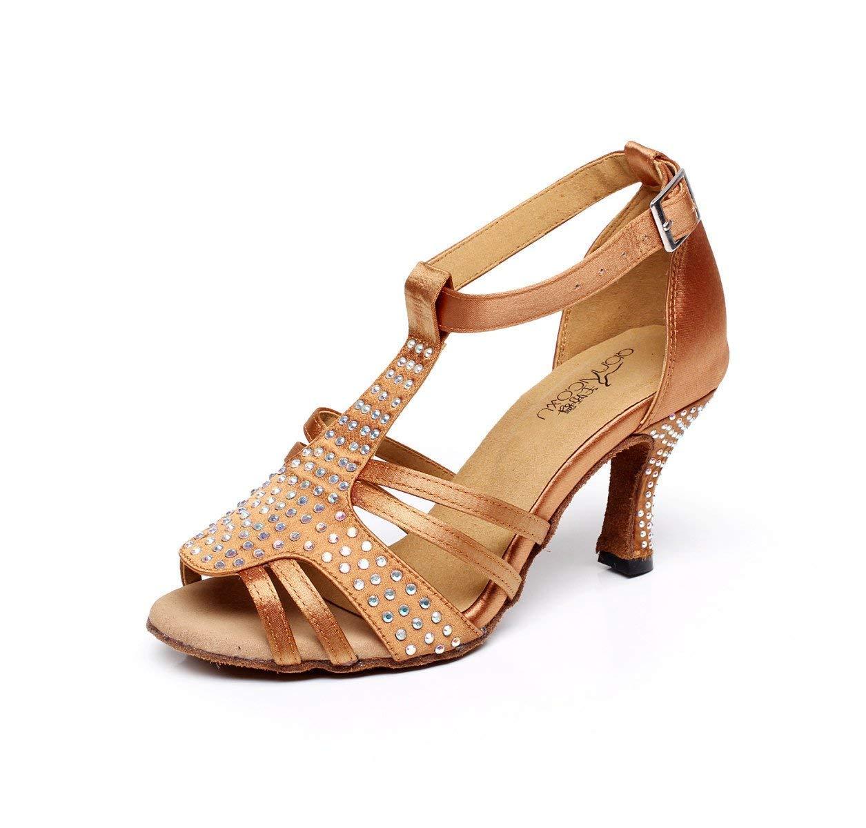 Frauen Kristalle Sparking Satin Latin Salsa Tanzschuhe Tango Chacha Samba Modern Jazz Schuhe Sandalen High Heels Braun-Absatz 10cm-UK3.5   EU34   Our35