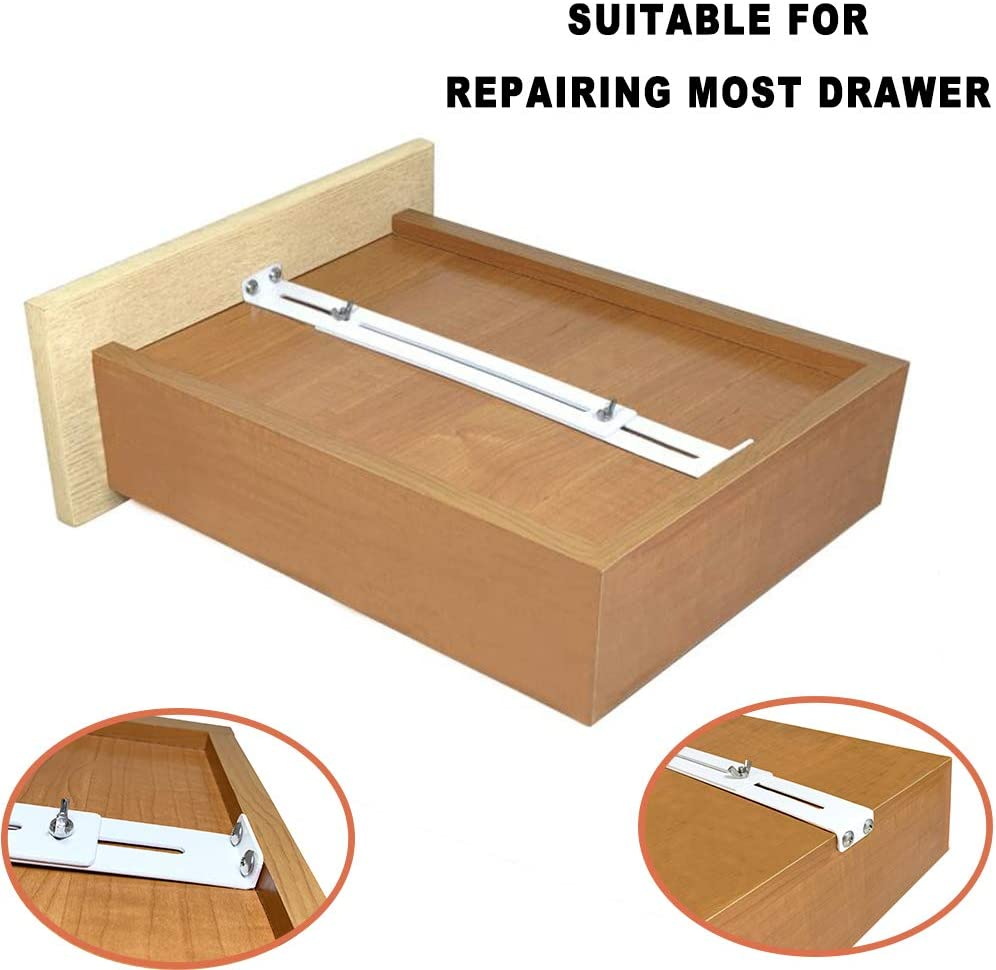 FRMSAET Drawer Repair Kit - Used to Reinforce and Repair Wooden/MDF/Chipboard Drawers Cabinet Reinforcement Heavy Duty Steel Hardware Furniture Accessories Brackets - Includes Screws (1 Pack)