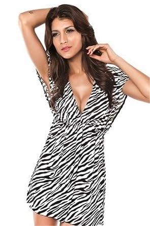 Tamari Strandkleid / Kaftan / Überkleid für Damen mit Zebramuster,  Einheitsgröße (36-42