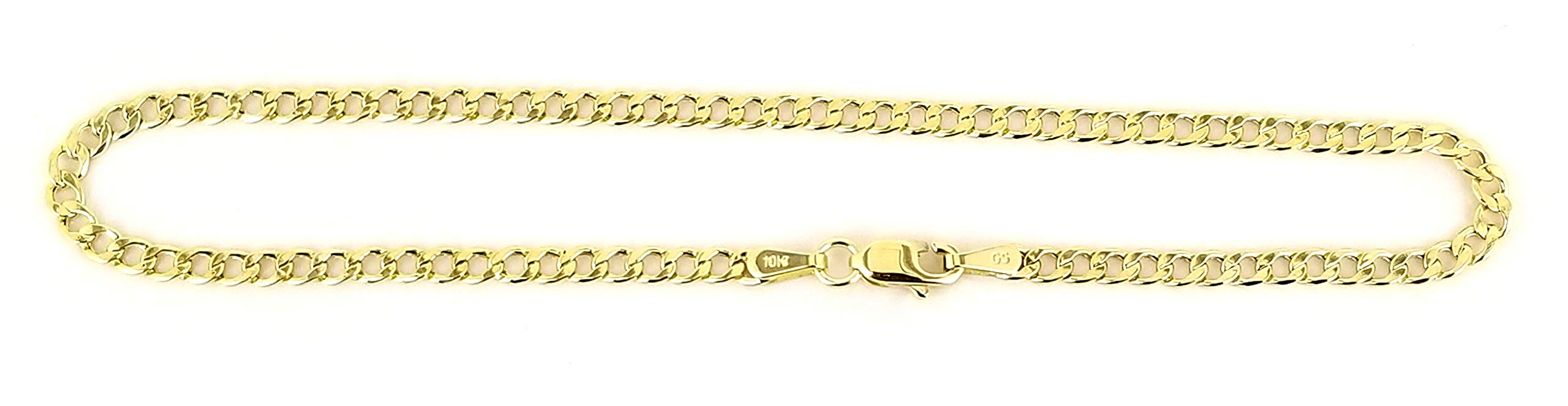 Real 10k Yellow Gold Hollow Cuban Men and Women Bracelet/Anklet 2.5 mm (10)