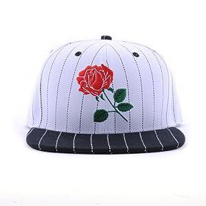 Rose Flat Bill Women Snapback Hat Adjustable Baseball Cap (Black White Stripes)