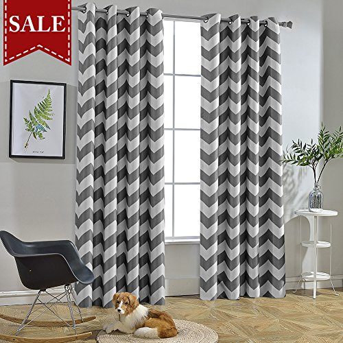 Melodieux Chevron Room Darkening Blackout Grommet Top Curtains, 52 by 63 Inch, Grey (1 Panel)