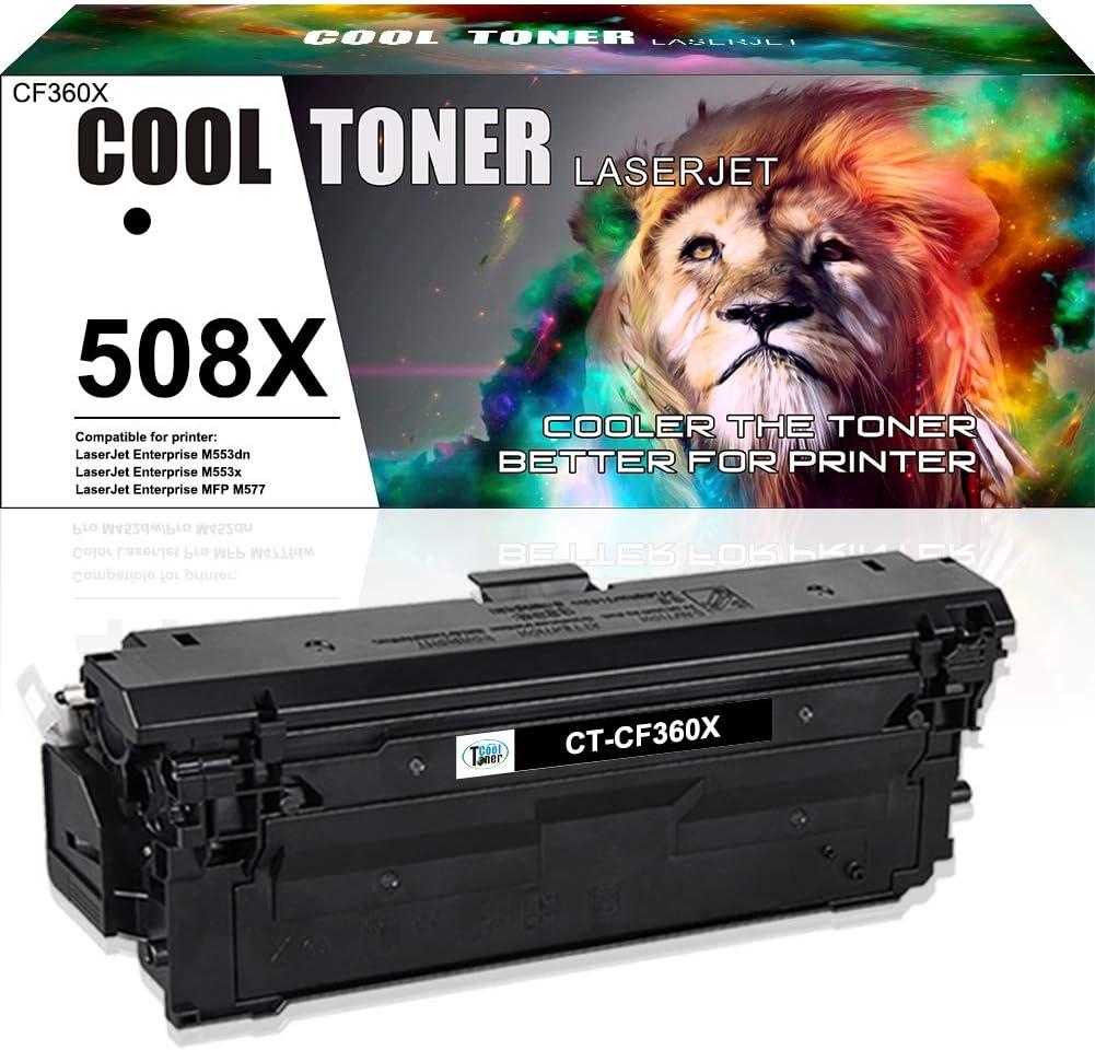 Cool Toner Compatible Toner Cartridge Replacement for HP 508X 508A CF360A CF360X Toner HP Color Laserjet Enterprise M553 M553N M553DN M553X M552DN MFP M577Z M577dn M577 Printer Ink (Black, 1-Pack)