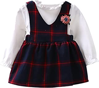 SHOBDW Girls Dresses, Toddler Kids Cute Plaid Flower Long Sleeve Princess Wedding Party Checked Spring Summer Dress