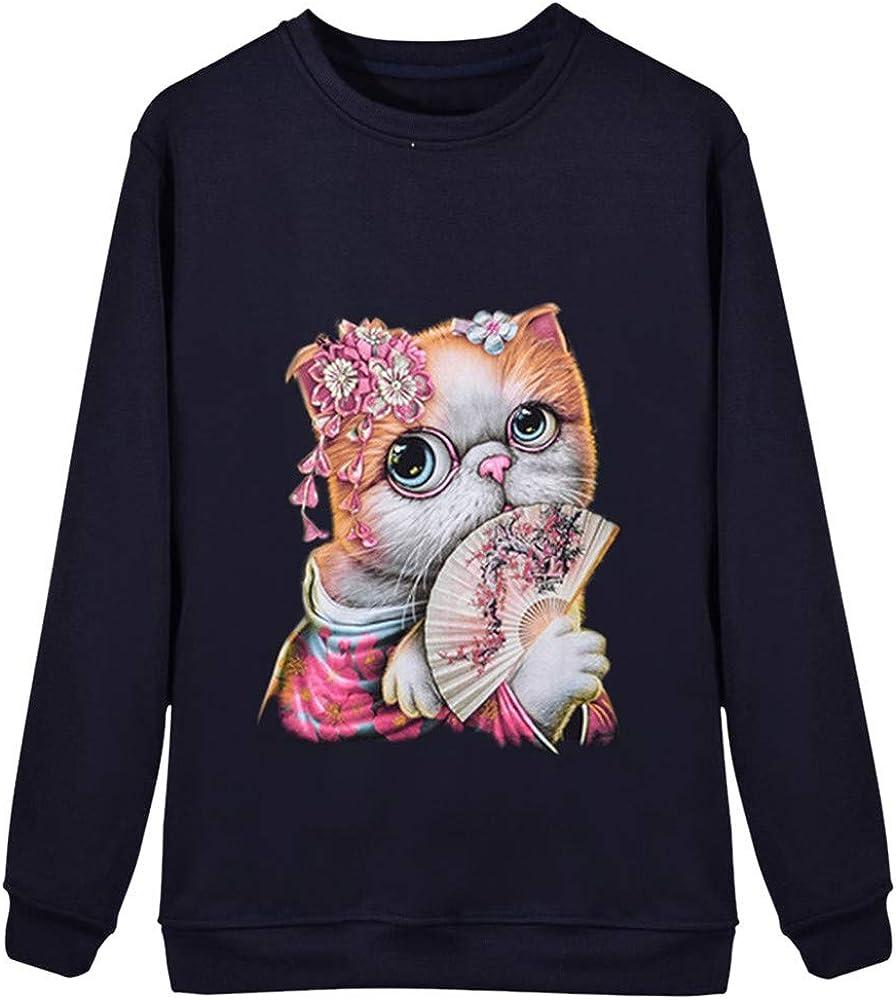VEMOW Pullover Sudadera Mujer Casual Impresión del Gato Manga Larga Cuello Redondo Camisa de Entrenamiento Tops Blusa OtoñO Invierno(A Azul Oscuro, XS): Amazon.es: Ropa y accesorios