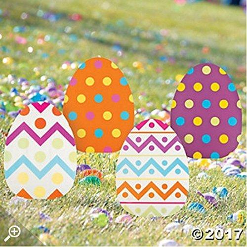 ASSORTED PRINTS Set of 4 whimsical colorful large Jumbo Spring Easter Egg Yard sign garden decoration ()