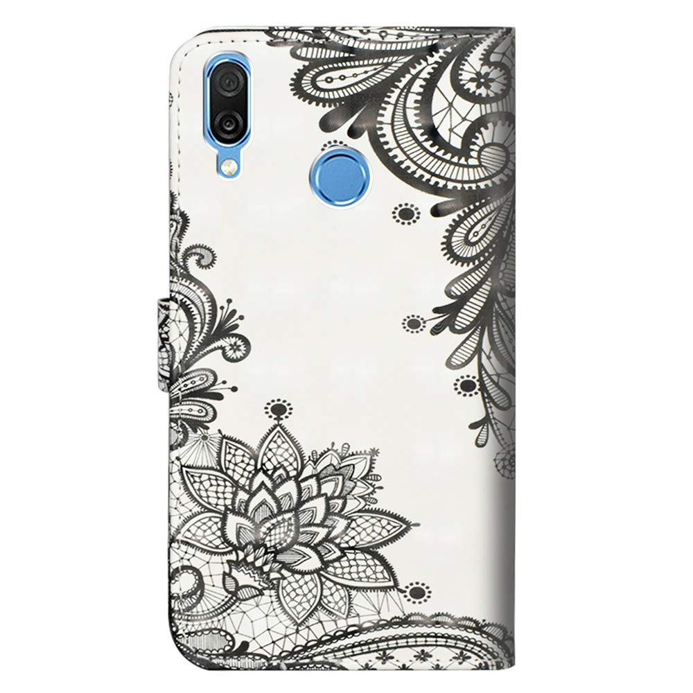 COTDINFOR pour Huawei Honor Play Custodia Cover TPU 3D Effect Painted PU in Pelle con Wallet Card Holder Magnetico Ultrasottile Antiurto Flip Custodia per Huawei Honor Play Climbing Bamboo Panda YX