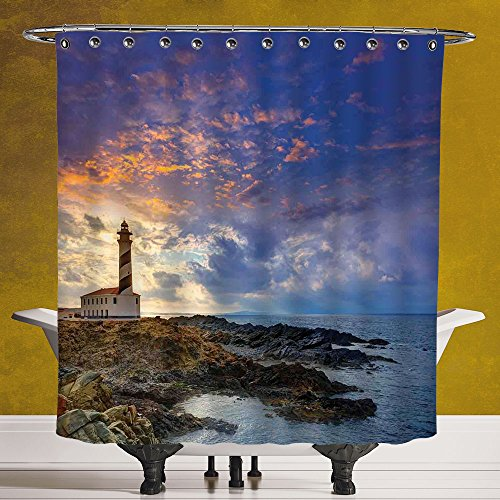 SCOCICI Polyester Shower Curtain 3.0 by [Lighthouse Decor,Cap de Favaritx Sunset Lighthouse Cape in Mahon at Balearic Islands of Spain Coast, Digital Print Polyester Fabric Bathroom Set by SCOCICI
