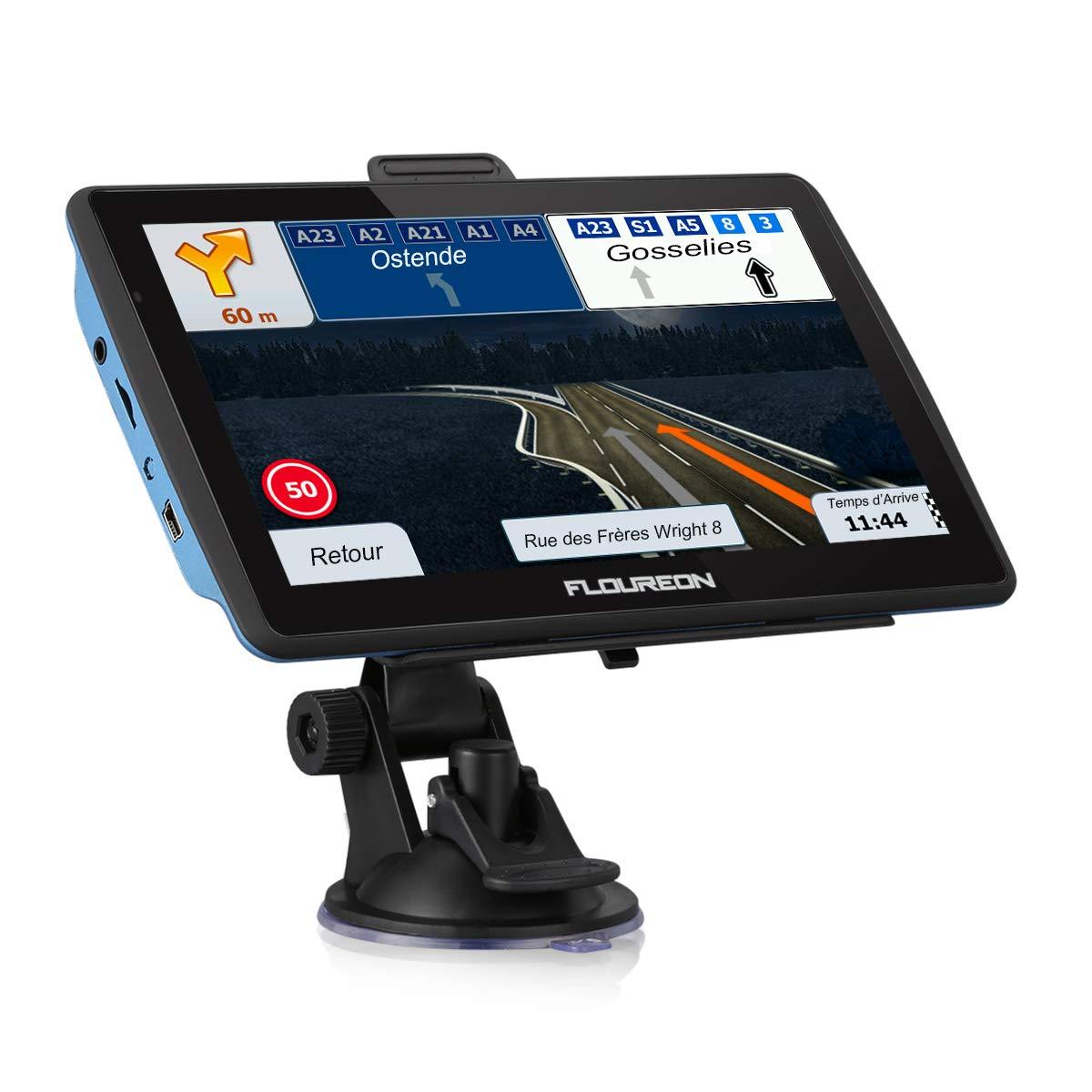 FLOUREON Navigationsgerä t 7' LCD Touchscreen GPS Navigation NAV Navigator freie EU UK Maps 8GB Speicher fü r PKW KFZ Auto Car Taxi, Blau