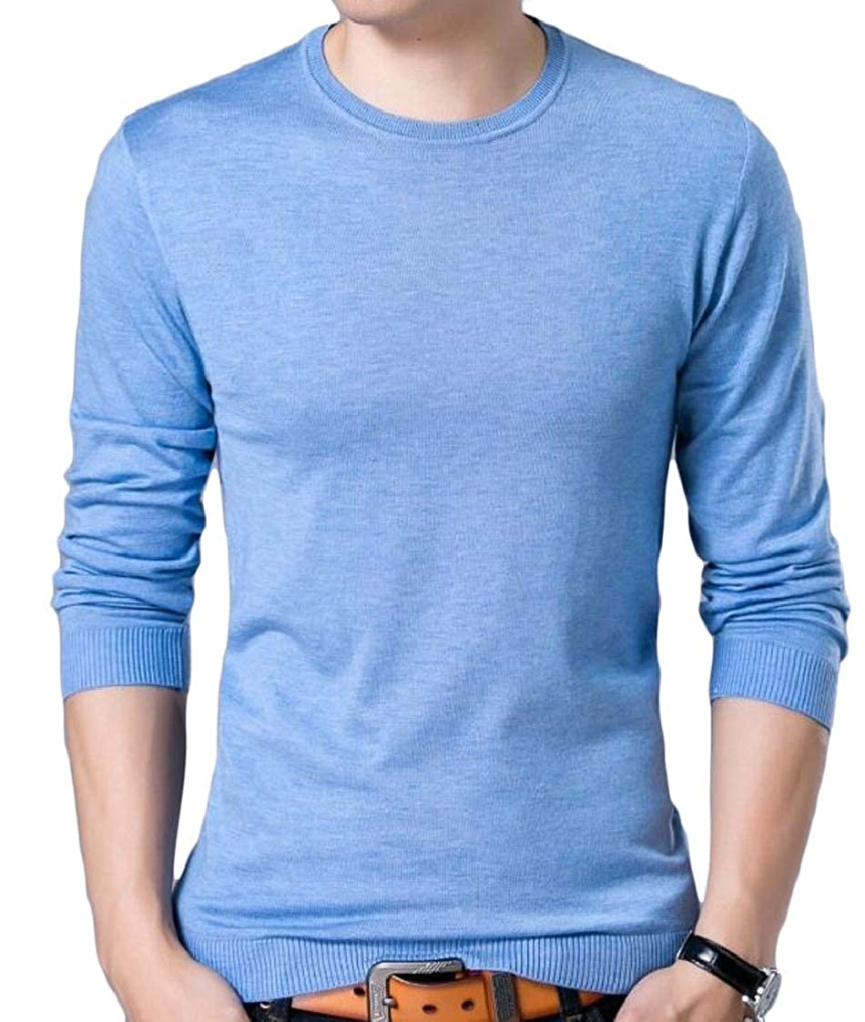 Lutratocro Mens Round Neck Casual Long Sleeve Knits Pullover Jumper Sweaters