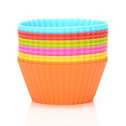 Silicona Cupcake Liners, 24 unidades, 6 colores para cupcakes, reutilizable y antiadherente para