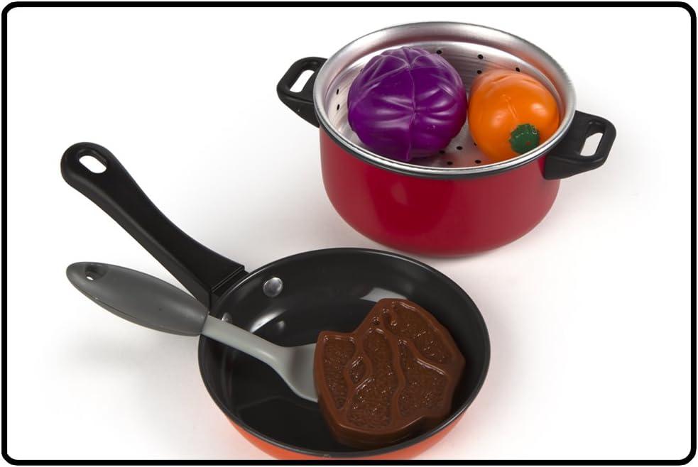 Playgo - Set utensilios de metal & comida para cocinar - 22 piezas ...