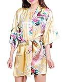 Surenow Robe de Chambre de Femme Motif Exotique Paon Fleur Kimono Satin Soyeux Peignoir