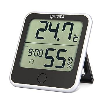 sparoma Thermo-Hygrometer digitales innen Thermometer mit Uhrzeit im ...