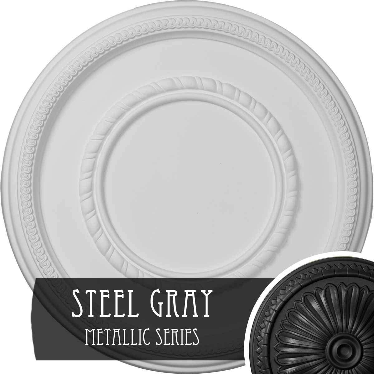 Ekena Millwork CM17FESGS Federal Roped Large Ceiling Medallion fits Canopies up to 7 3/4'', Steel Gray