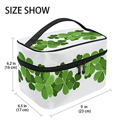 U LIFE Hello Lucky Day St Patrick's Green Floral Four Leaf Clover Shamrock Travel Cosmetic Makeup Toiletry Storage Bags Boxes Cases Organizers