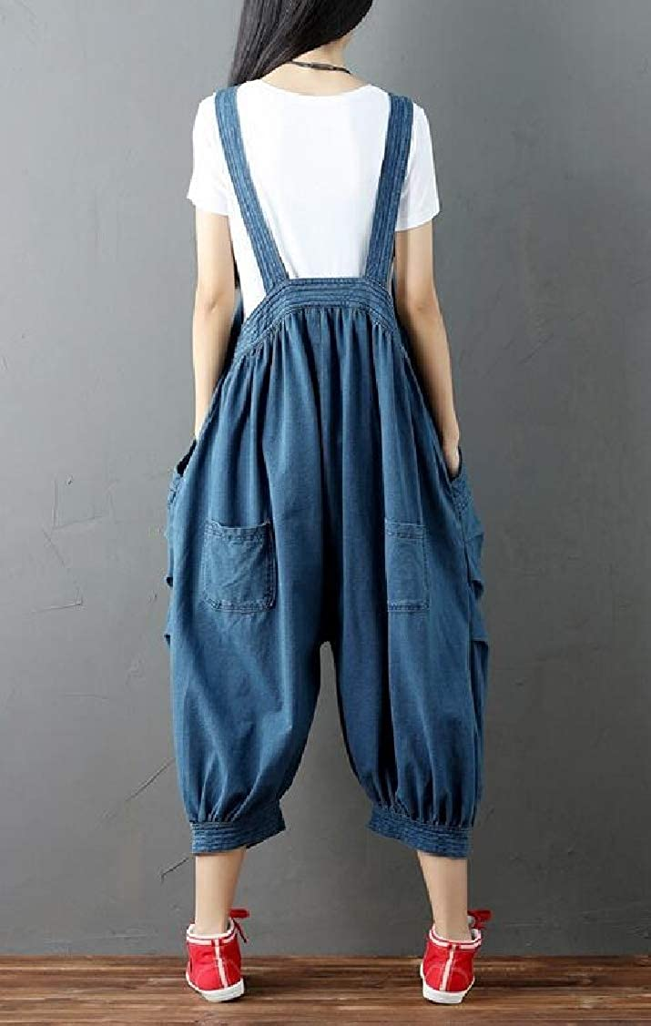 Hajotrawa Womens Loose Juniors Jeans Plus Size Denim Pants Overalls